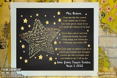Personalised Star Teacher Thank You Picture Print Gift Nursery Present Leaving