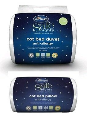 Silentnight Cot Bed Pillow and Duvet set Breathable Anti-Allergy Toddler 12M+