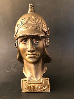 Minerva POD Bronze Car Mascot Ornament Emblem Antique 1920 Belgian