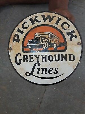"""Porcelain Pickwick Greyhound Lines Enamel sign 6"""" Inches Approx"""