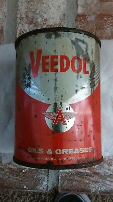 Vintage 1940's-50'S  NOS Veedol flying A Getty oil 1# grease can full Can