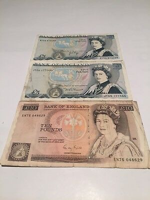 Vintage British Pounds Lot 2x5 pounds 1x10 pounds vintage circulated notes! GPB