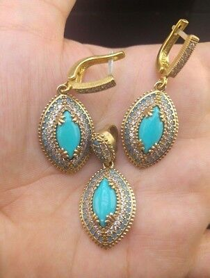 AAA Quality 925 Sterling Silver Jewelry Turquoise Gemstone Earrings Pendant Set