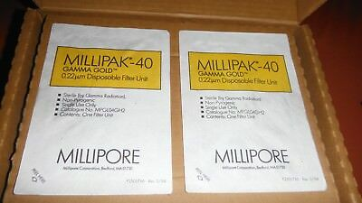 Lot of 2 Millipore MPGL04GH2 Millipak 40 Gamma Gold 0.22µm Disposable Filter