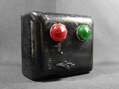 Vintage 70s black bakelite electrical box with rotary switch and red green lamps