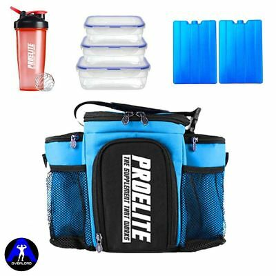 Meal Prep Bag Fitness Cooler Storage Lunch Box With 3  Food Containers SKY BLUE