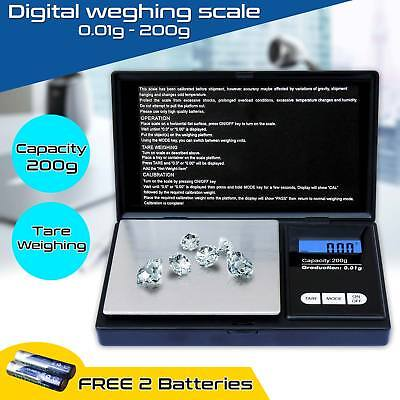 Digital Pocket Scales 0.01g - 200g Jewellery Weighing Electronic For Gold Gem