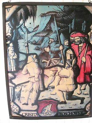 Vintage Stained Glass Panel William Tell Scene Cristov Froschower