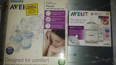 manual breast pump and feeding bottles 2x125ml by AVENT philips