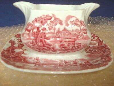 Myott The Hunter Gravy Boat with attached base Pink