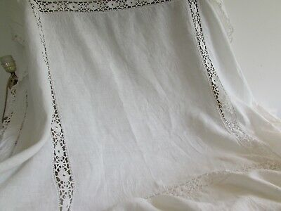 Antique, vintage French pure linen table cloth.  Hand made.