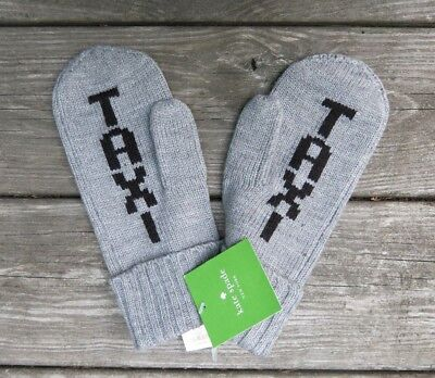 NEW kate spade gray taxi mittens NWT