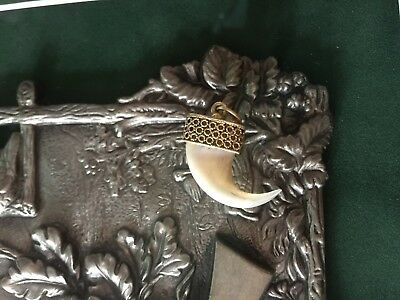 Very Old Antque RARE claws lynx or bear Handmade Hand carved 84 Sterling Silver