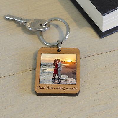 Wooden Photo Key Ring - Personalised Engraved Carved Gift Keyring Fob
