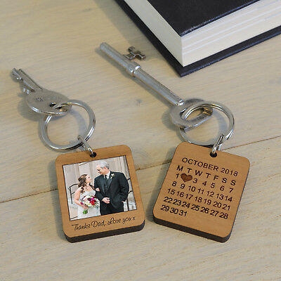 Wooden Special Date Photo Key Ring - Personalised Engraved Gift Keyring Fob