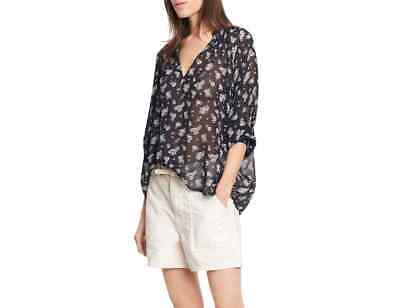 14bd4cf453e446 NWT Vince Calico Floral Shirred Neck Silk Blouse Coastal Blue Size M $345