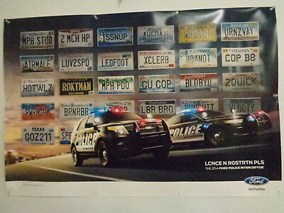 2014 Ford Police Interceptor Poster Featuring Vanity License Plates, Tags, Nos