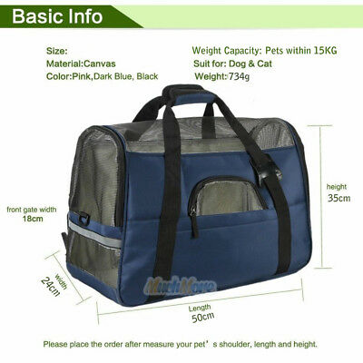 Blue Pet Dog Cat Puppy Portable Travel Carry Carrier Tote Cage Bag Kennel UK