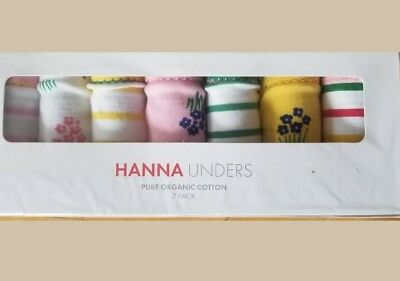 NWT Hanna Andersson 7 Pack Hipster Organic Unders FLORAL STRIPE XL 160 14 16