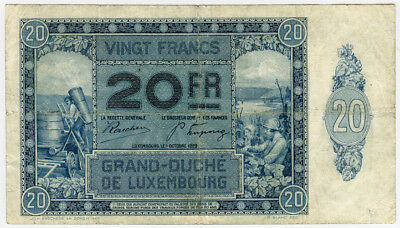 LUXEMBOURG 1929 ISSUE 20 FRANCS SCARCE BANKNOTE VF.PICK#37a.
