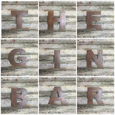 Rustic THE GIN BAR Letters Sign Rusted Metal Word vintage Industrial Pub