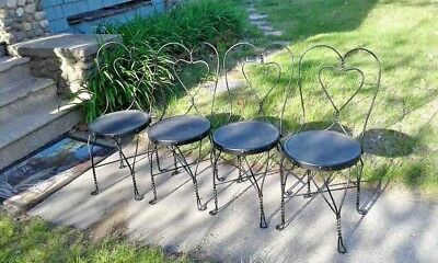 Vintage Black Iron Ice Cream Parlor Chairs