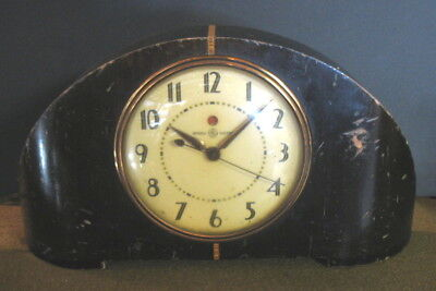1930's General Electric Vintage Art Deco Electric Wood Mantle Clock 4H08