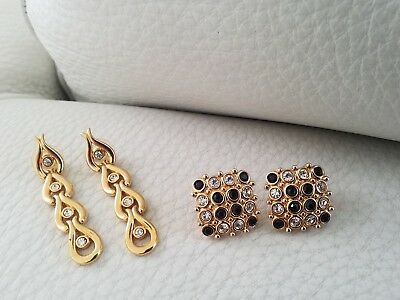 Lovely two pair collection of Swarovski cyrstal formal ready to wear earrings