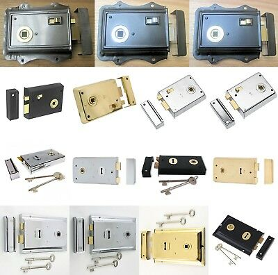STEEL RIM SASH LOCK /LATCH old Victorian retro style Deadbolt Door shed lock