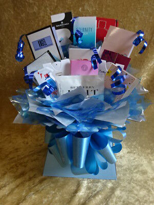 Sweet & Flower Style Perfume Bouquet Vial Samples Gift Bows Hamper Box Blue Dots