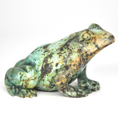 "2.8"" Frog Figurine African Turquoise Crystal Hand Carving Lucky Healing Decor"