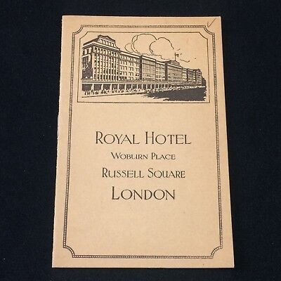ROYAL HOTEL Woburn Place, Russell Square~London VTG Booklet Advertising Ephemera