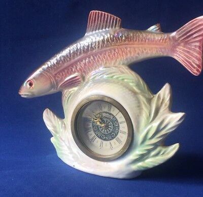 Jema Holland Lustre Ware Trout Fish Mantle Clock (410) Meccedes Movement Germany