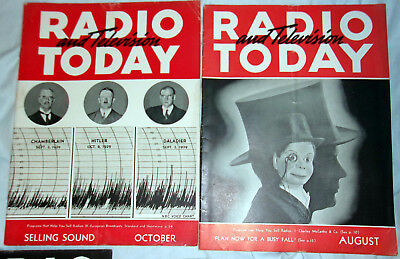 Radio & Television Today Aug & Oct 1939 Chamberlin Hitler Daladier Nice! L@@K!