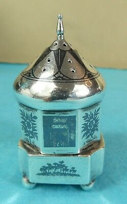 Beautiful Iraqi Sterling Silver Niello Spice Shaker Pepper Boats Trees Ca 1930