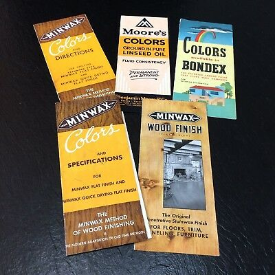 Lot of 5 Mid Century Paint/Stain Brochures Color Samples~Minwax, Bondex VTG Ad