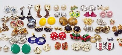 Lot of Vintage to Modern Clip on Earrings for Some Signed Wearable,Craft Repair