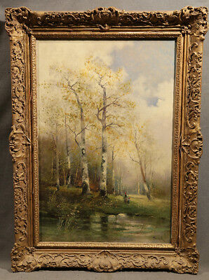 19th Century Antique Great Landscape Painting With Figures Lake and Pond