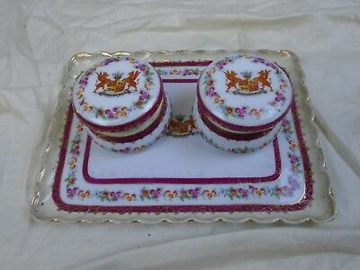 Cymru Am Byth Crest of Wales Pots with Lids and Tray