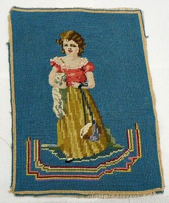 Vintage Girl With Cat Needlepoint