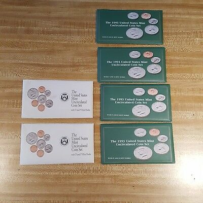Lot 1992 1993 US Mint Uncirculated Coin Set Total 6 P and D Marks