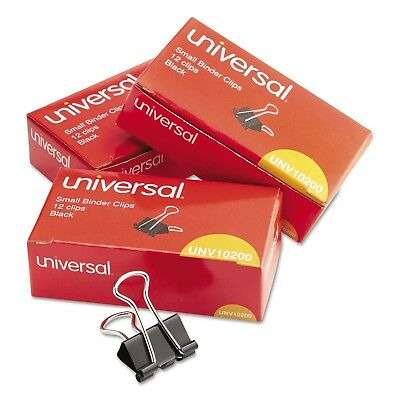 "UNIVERSAL Small Binder Clips 3/8"" Capacity 3/4"" Wide Black 36/Pack"