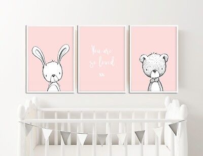 Pink Nursery Decor / Pictures / Prints / Rabbit & Bear You Are So Loved