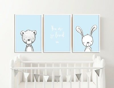 Blue Nursery Decor / Pictures / Prints / Rabbit & Bear / You Are So Loved