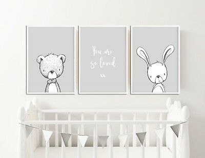 Grey Nursery Decor / Pictures / Prints / Rabbit & Bear / You Are So Loved