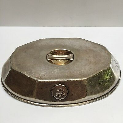 "Vintage Hotel Silver Soldered Entree Meat Dome Cover Ship Medallion 8"" x 5 1/2"""