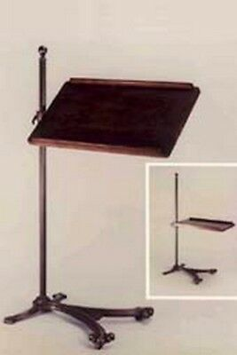 Reading or Music Stand Adjustable Bronze With Cherry Wood Tray