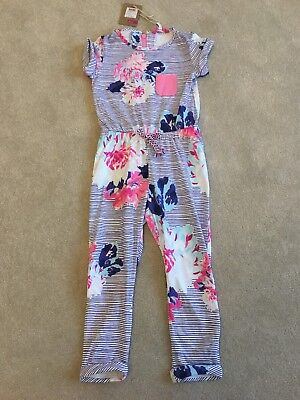Joules Girls All in One Pink / Blue Flowery Jumpsuit / Playsuit Age 3-4