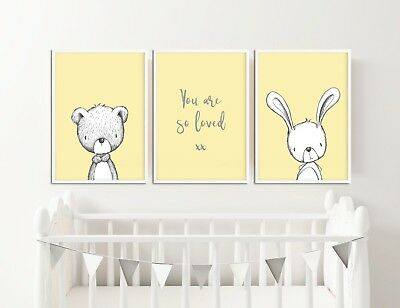 Grey & Yellow Nursery Decor Pictures Prints Rabbit & Bear You Are So Loved