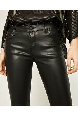 e8f20872 SIZE 10 ZARA Black Waxed Skinny Jeans womens Black leather look ...